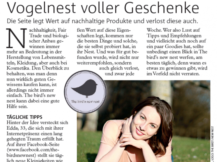 The bird's new nest im Wiener Bezirksblatt