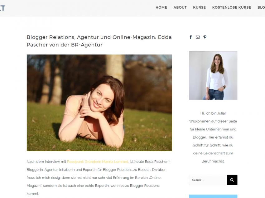 Blogger Relations, Agentur und Online-Magazin: Im Interview mit Julia Burget