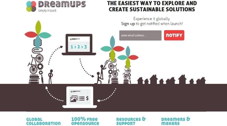 Screenshot der Website Dreamups.