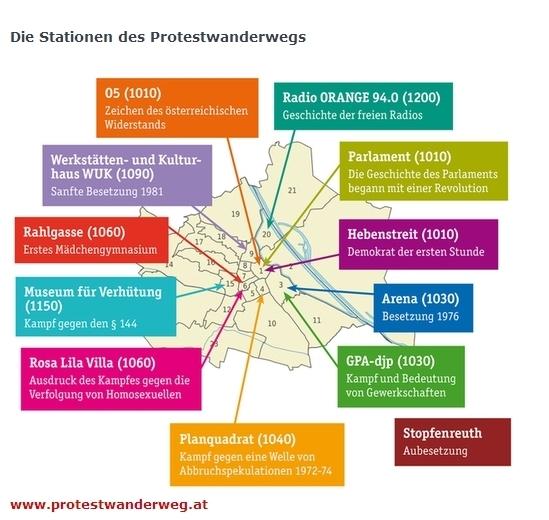 Screenshot der aktuell 12 Stationen des Protestwanderwegs.