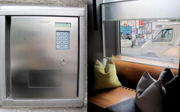 """Der Schlüssel zum Hotelzimmer ist via Code zugänglich, wie stark man in der """"Auslage"""" sitzen möchte, kann via verdunkelten Fenstern reguliert werden. Foto: Doris"""