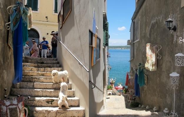 Enge Gassen, Pflastersteine, der Blick aufs Meer und jede Menge Kunst - Rovinj ist in jedem Fall bunt. Foto: Doris