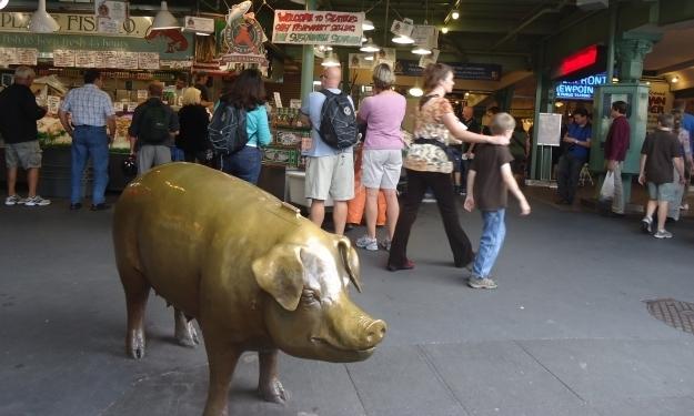 """Das """"Wahrzeichen"""" vom Pike Place Market. Foto: Doris"""